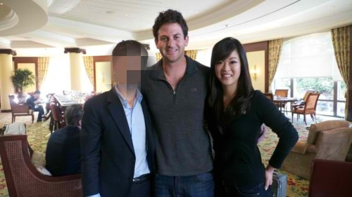 Paul and Jieun Baek with Jared Cohen after having breakfast together at the Google Ideas INFO Summit at the Four Seasons Hotel