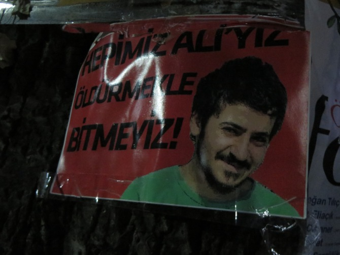 In memory of a Turkish young man who died in a protest a few weeks ago