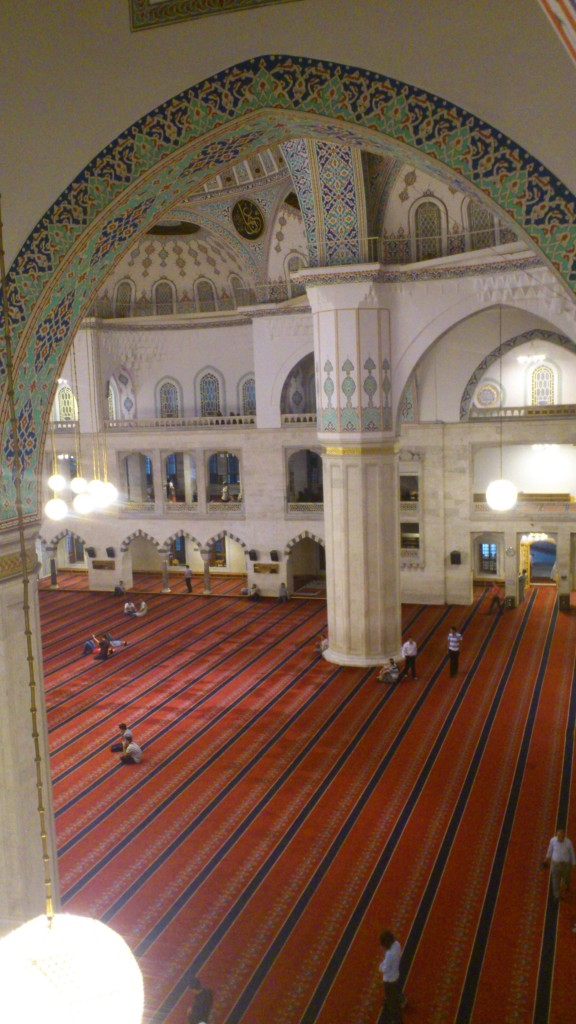 Again, inside the mosque from the women's section. I tried my best to hide behind my (very tall male) friend while walking around this men-only section of the mosque while the imam was speaking. Men glared at me, so I hurried out of there!