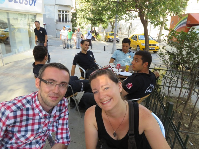 Latasha Wilson (my roommate from Vienna!) and I had a mini weekend reunion in Taksim Square. Thank you, Tasha, and Ozan for a wonderful weekend! (Note the young policemen hanging out behind us)