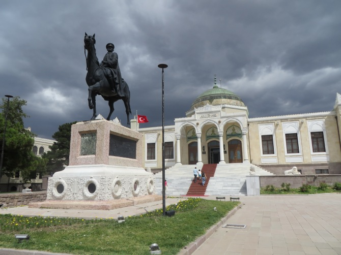 The front of the Ethnography Museum, with an Ataturk statue