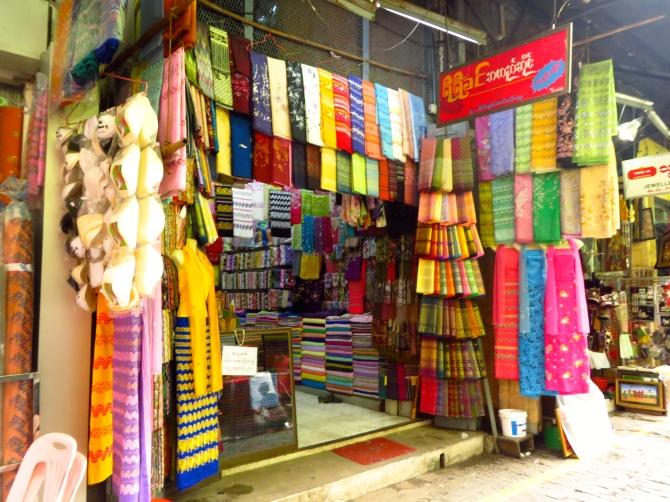 Longyi store in the Bogyoke Aung San Market