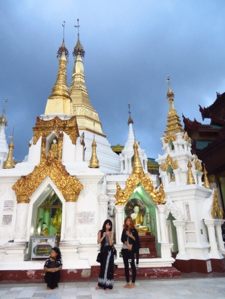 Cool girls at the Shwedagon Pagoda