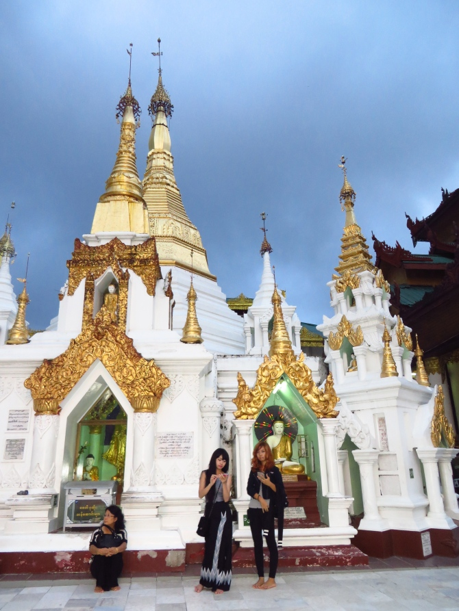 Cool girls at the Shwedagon Pagoda