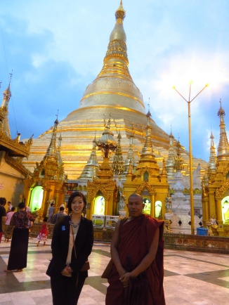 My and a Buddhist monk at Schwedagon Pagoda