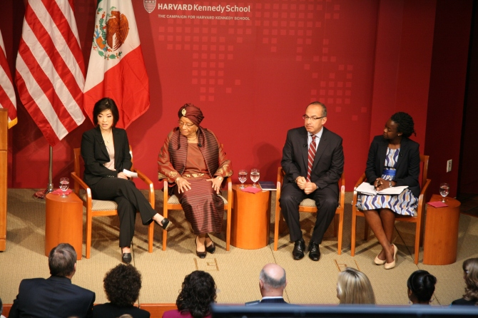 From left to right: me, President Johnson-Sirleaf, President Calderon, Amandla at the HKS Forum