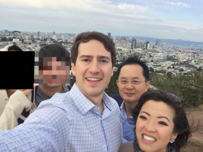 A selfie with our North Korean guests and Alex Gladstein, an associate at the Human Rights Foundation, at the top of